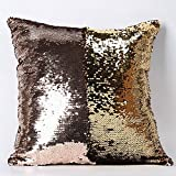 "Casemantra™ Pillow Case, Reversible Sequin Pillow Cover Throw Cushion Case 16""X16"" (Brown-Gold)"