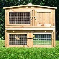 ZooPrimus Kleintier-Stall Nr 02 Kaninchen-Käfig  OBELIX  Meerschweinchen-Haus für Außenbereich (Breite 100cm, Tiefe 52cm, Höhe 92cm, geeignet für Kleintiere: Hasen, Kaninchen, Meerschweinchen usw.)