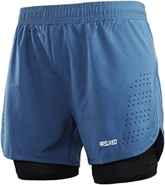 ARSUXEO Mens Running Shorts 2 in 1 Compression Shorts Breathable Gym Work Shorts with Pocket