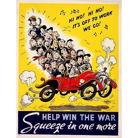 American Vintage WW21939–45propaganda auto Share. Aiutare a vincere la guerra. Squeeze in uno più 250gsm Lucido Art poster A3di riproduzione