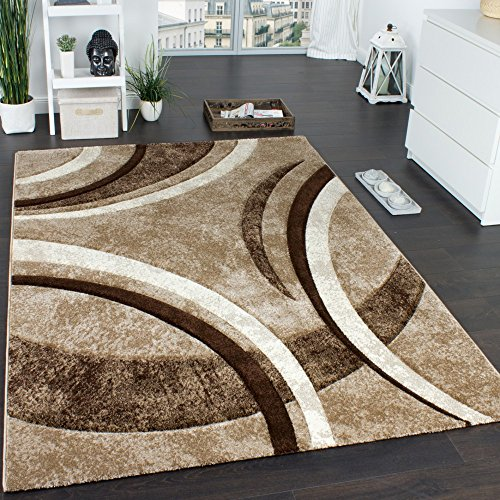 Paco home tappeto di design con bordo definito a righe marrone beige crema screziato, dimensione:60x100 cm