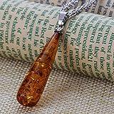 YAZILIND Frauen natürlich orange Bernstein Ohrring Heilung Chakra Reiki-Anhänger Kollier Schmuckset - 3