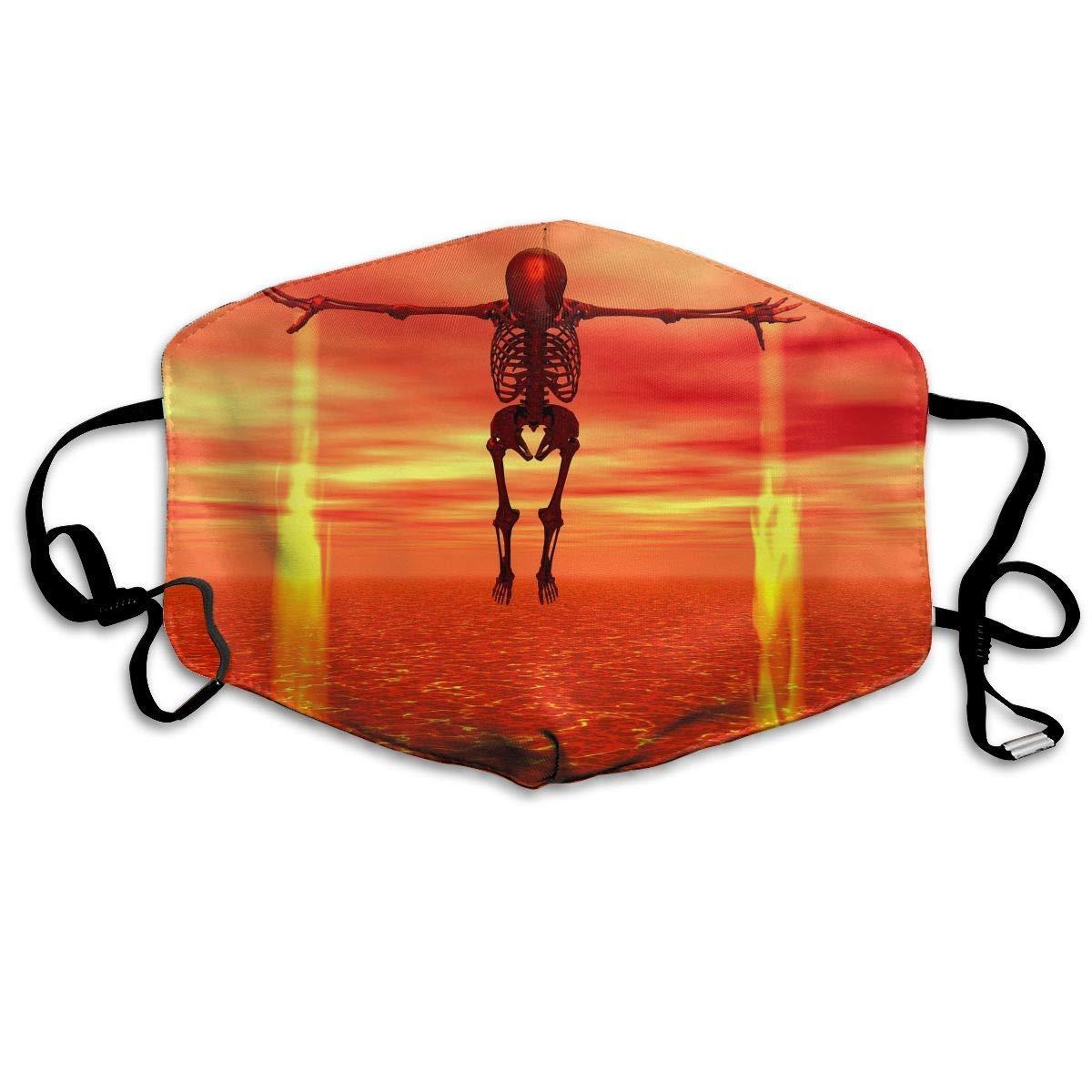 Daawqee Máscara de Boca, Antipolvo Cubierta de Boca Sunset Skeleton Print Reusable Washable Earloop Máscara de Boca for Men Women