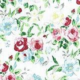 Leinenstoff | Rosenblüte (bedruckt) - rot, rosa, blau, grün und anthrazit | Grundfarbe: weiß | 100% Leinen Stoff | Stoffbreite: 150 cm Meterware (1 meter)