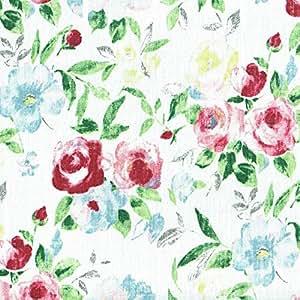 Tissu lin imprimé - Les roses en fleur - rouge, rose, bleu, vert et anthracite sur fond blanc | 100% lin | Largeur: 150 cm (1 mètre)