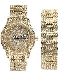 Iced out ST10228B - Reloj de Pulsera para Hombre con diseño de Billetes y Diamantes de