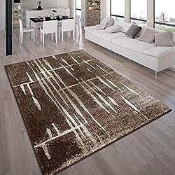 Tapis Design Moderne Poil Court Trendy Marron Crème Moucheté, Dimension:160x220 cm