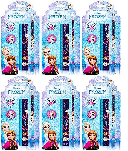 24 tlg. Frozen / Die Eiskönigin - Geburtstags-Set - Mitgebsel für Kindergeburtstag / Partytüten - 6 Schreibsets für 6 Kinder - Geburtstags-Party / Geburtstagsdeko (Schule Mädchen Kostüm Set)