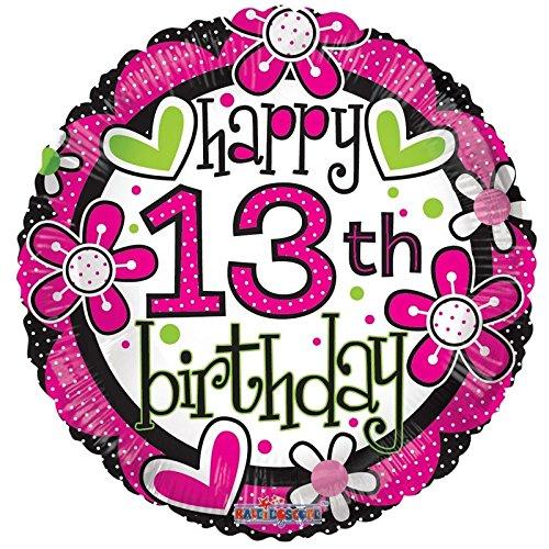 Helium-Ballon aus Metallfolie, für den 13. Geburtstag, ca. 45,7cm (nicht aufgeblasen)-Alter 13, für Mädchen, mit Blumenmotiv - Aufgeblasen Mädchen