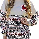 FORH Damen Klassisch Vintage Weihnachten Sweatshirt Cute Elche muster gedruckte Weihnachten Pulli Casual Herbst Winter angen Ärmeln Kapuzenpullover Clubwear tops (Weiß, M)