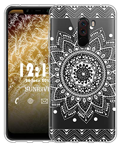 Sunrive Cover Per Xiaomi Pocophone F1, Custodia Case in molle Trasparente silicone Morbida Flessibile Antigraffio protettiva Cuscino d'aria back custodie(tpu Fiore Bianco)