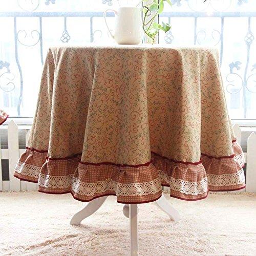 HL-PYL - American Pastoral Baumwolle Tischdecke Rund Rund Tischdecke Tischdecke Tischsets Kissen europäischen Stil Claret Kreis 100 X 100 Cm -