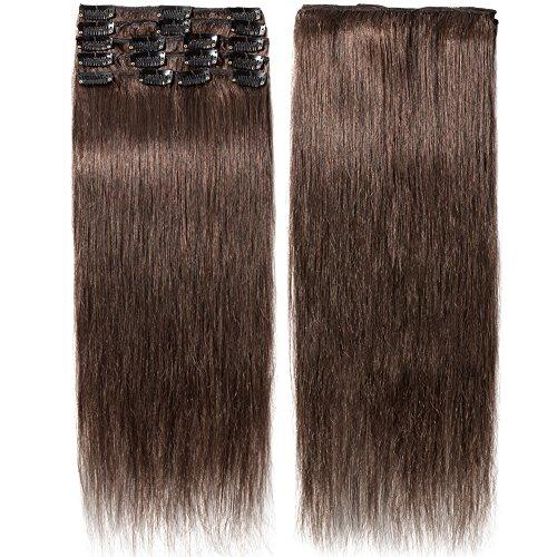 Extension capelli veri clip 8 fasce remy human hair extensions clip lisci lunga 16 pollici 40cm pesa 65grammi, #4 marrone cioccolato