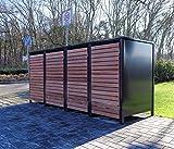 4 Mülltonnenboxen für 240 Liter Mülltonnen in Edeldesign Anthrazit - Edelholz / witterungsbeständig durch Pulverbeschichtung / mit Klappdeckel und Fronttür aus Edelholz