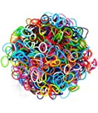 New 600 to 3000 Colourful Rainbow Loom Rubber bands with Free Loom Stick S-Clips