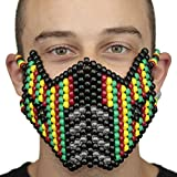 Sub Zero 420 Rasta Mortal Kombat Full Kandi Mask by Kandi Gear, rave mask, halloween mask, beaded mask, bead mask for music fesivals and parties