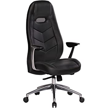Amstyle Design Desk chair leather high backrest thigh glides Soria black