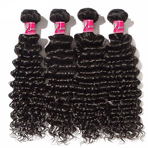 saomai® Extension de cheveux brésiliens vierges 6 A Deep Wave noir naturel 4 trames cheveux 100% humains tissage, Total 400 g