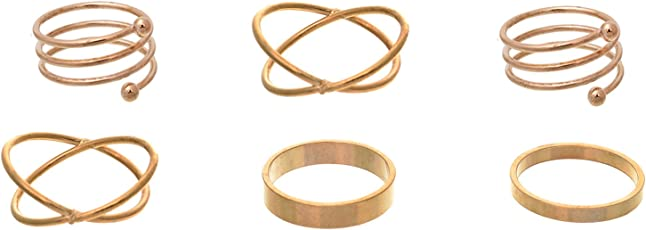 Aaishwarya Gold Metal Rings for Women and Girls (Pack of 6)