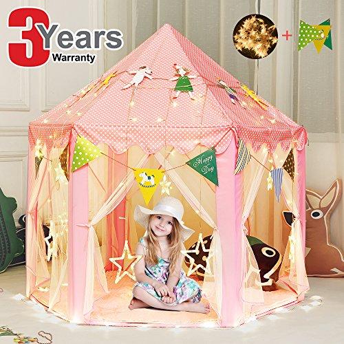 Prinzessin Spielzelt für Kinder Mädchen Tipi Zelt Rosa Kinderzelt mit Lichterkette Sterne und Wimpelkette für Drinnen/ Draußen Spaß - Durchmesser 135cm, Gesamthöhe 140cm (Prinzessin Kleinkind-zelt)