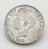Desconocido Moneda de 5 Pesetas del Año 1898. Moneda de Plata. Moneda Coleccionable. Moneda de Coleccionista. Moneda de España.