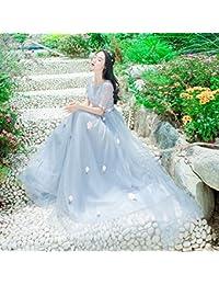Mayihang vestido Vacaciones En La Isla Vestido Flores Bordadas Vestido Vestido Bordado Perspectiva Falda De Gasa