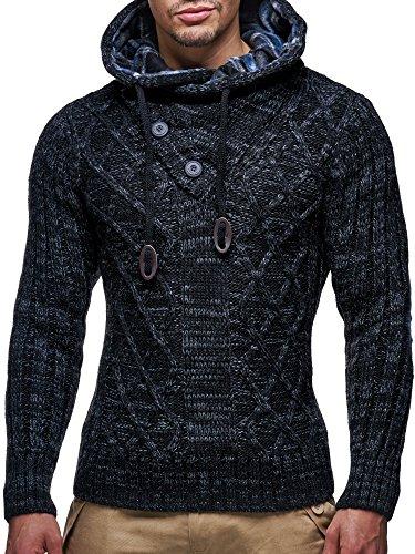 LEIF NELSON Herren Pullover Hoodie Kapuzenpullover Strickpullover Longsleeve Sweater Sweatshirt Pulli LN10346; Grš§e M, Schwarz