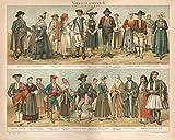 Volkstrachten II, aus Oberösterreich, Tirol, Spanien u.a. - Antiquarische Lithografie (Sammlerstück) von 1897