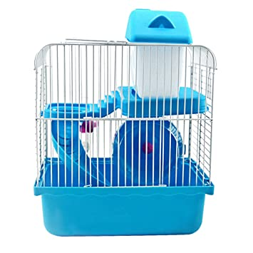 castle hamster cage small animal cages with bedroom hamsters wheel food basin kettle slide house home blue amazoncouk toys u0026 games