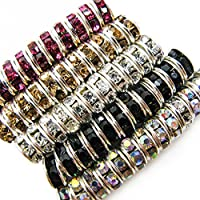 TOAOB 500pcs Mix Colours Charm Shiny Rhinestones Round Spacer Beads 6mm For Jewelry Making