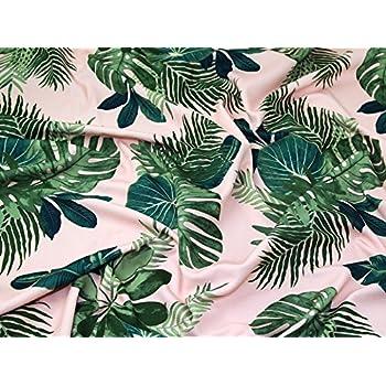 Vert feuilles de palmier rideau de tissu de coton pour ameublement vert tropical feuille 140 - Rideau de cuisine au metre ...