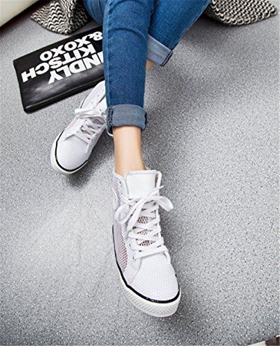 De Tênis Sapatilhas Malha Femininos Salto Sapatos Altas Sapatos Superiores Wealsex Cunha Senhoras Esportes Branca De Cunhas XYRT1wq6W