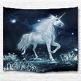 Einhorn-Wandteppich von KLOKUTTA, 3D-Druck, Polyester, Unicorn Dancing on the Ice, 90 X 60 Inch