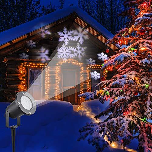 LED Projektor Lichter,LED Projektionslampe Weiß Snowflake Landschaft Weihnachts Wandstrahler Außenstrahler Lichteffekte dynamische Motive, Party Licht, Gartenlicht für Festen DJ Xmas - 2