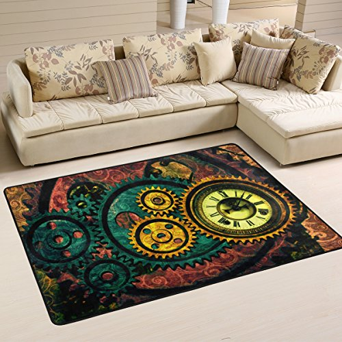 Woor Steampunk Gears Wohnzimmer Essbereich Teppiche 91,4x 61cm Bed Room Teppiche Büro Teppiche Moderner Boden Teppich Teppiche Home Decor, multi, 6 x 4 Feet
