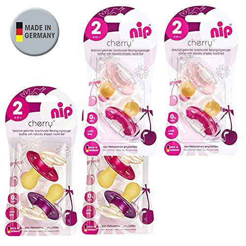 Preisvergleich Produktbild NIP Cherry Rundsauger Schnuller // 8 Stück Girl Set // Gr.2 // Naturlatex // 6+ Monate // Creme & Pink + Lila & Rot