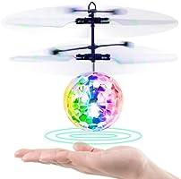 Baztoy RC Fliegender Ball, Spielzeug, Infrarot-Induktions-Hubschrauber, Drohne mit bunt leuchtendem LED-Licht und Fernbedienung für Kinder, Geschenke für Jungen und Mädchen, Indoor-und Outdoor-Spiele