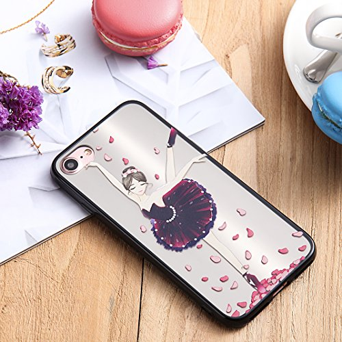 Coque iPhone 7 Case, Silicone Housse iPhone 7 apple Case Rosa Schleife® Etui iPhone 7 TPU Gel de Silicone Ultra mince Cas Transparente Housse de Protection Back Cover Protective Shell Mirror Clair Cas 4-Style