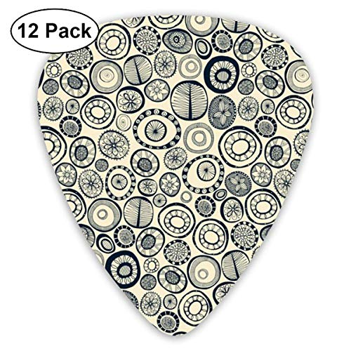 Small Honolulu Hoops Indigo Cream_2229 Classic Celluloid Picks, 12-Pack, For Electric Guitar, Acoustic Guitar, Mandolin, And Bass -
