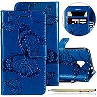 Herbests Leder Handy Schutzhülle für Samsung Galaxy J2 Pro 2018 Lederhülle Schmetterling Muster Leder Handyhülle Handytasche Brieftasche Ledertasche Bookstyle Flip Case Cover Klapphülle,Blau