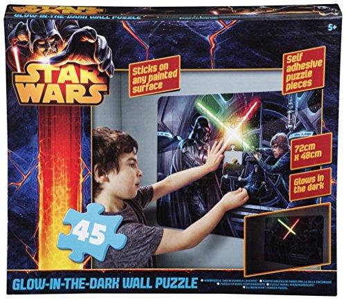 Brigamo 552503 - Star Wars Puzzle als Wandtattoo fürs Kinderzimmer, die Laserschwerter leuchten im Dunkeln! thumbnail