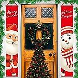 KUTO Kerst Veranda Decoraties, Vrolijk Kerstfeest Veranda Banner Voordeur Signs Decor Welkom Kerst Hangende Banner Rode Kerst Banner Muur Buiten Indoor Feestdecoratie, 180 * 30cm