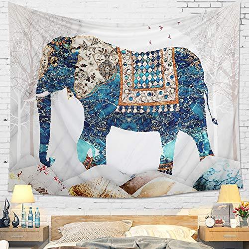 Dremisland Mandala Arazzo da Parete Indiano Boho Psychedelic Elefante Hippie Tapestry Arazzi Bianco Telo Mare Tappetino Yoga Coperta (L / 148x200cm)
