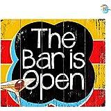 "Print Ocean The Bar is Open Wall Sign (Wooden, 30 cm x 30 cm) (12""x12"")"