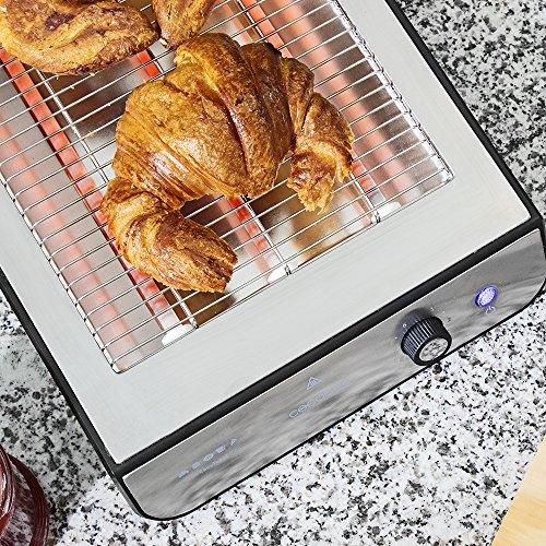 Cecotec Tostador plano horizontal de 900 W con tres resistencias halógenas, para tostar pan o todo tipo de bollería, 6 niveles, bandeja recogemigas y hueco recogecables. Turbo EasyToast Inox
