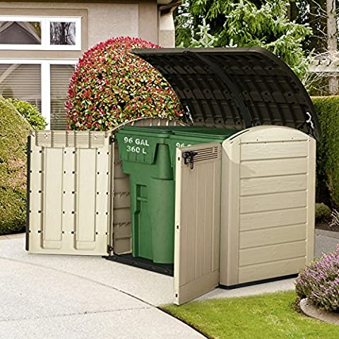 Keter Woodland XXL Durable Wood Effect Finish Fully Lockable doors and Sturdy Floor Panel Horizontal All-Purpose Storage Shed Unit