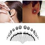 Kit cono dell'orecchio,36 dilatatori acrilici per lobo orecchio, cunei e plug, per uomini e donne