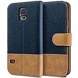 BEZ® Hülle für Samsung Galaxy S5 Handyhülle, Handytasche Schutzhülle Kompatibel für Samsung Galaxy S5 / S5 Neo Hülle, Tasche [Stoff und PU Leder] mit Kreditkartenhaltern - Blau Marine