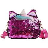 VALICLUD Reversible Unicorn Crossbody Purse Mermaid Glitter Sequin Bolso de Hombro Shiny Satchel Tote Bling Handbag for Women