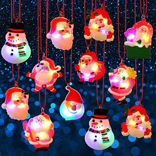 12 Stücke Weihnachten Blink Licht Halsketten Weiche Ketten Halskette, Blinkende Sankt Licht Halsketten LED Hängende Halsketten für Kinder Partei Dekoration, Zufällige Arten (Halsketten Blinkende Weihnachten)